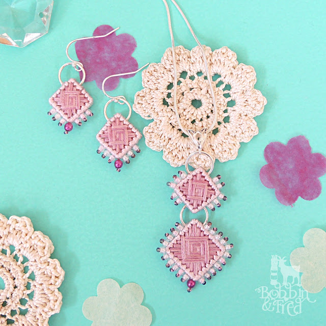 Pink Needlepoint Necklace and Earrings by Bobbin and Fred