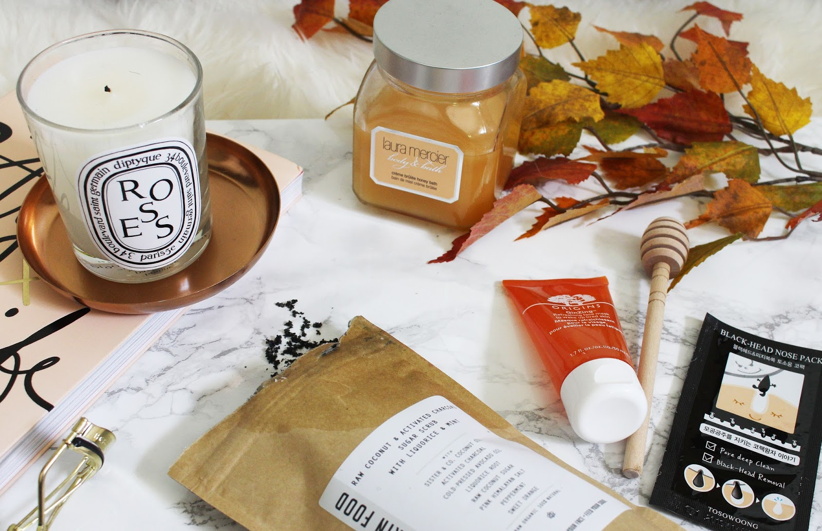 pamper evening, autumn night in, sister and co scrub, fall beauty, autumn beauty, origins ginzing, blackead remover, diptyque roses, laura mercier bath and body creme brûlée,