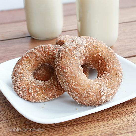 Cinnamon Sugar Eggnog Doughnuts