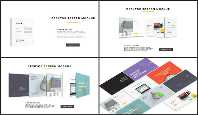 Desktop Screen Mock-up and Multi - Purpose Free PowerPoint Template [SIMPLE] Slides 53-56