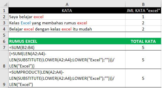Cara menghitung jumlah teks non case-sensitive range excel