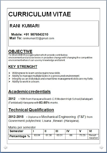 B E Mechanical Engineering Fresher Resume engineering fresher