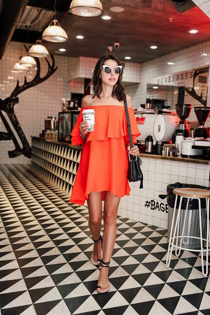 Off shoulder orange Dress