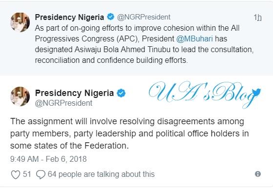 JUST IN: President Buhari appoints Tinubu as mediator in APC crisis