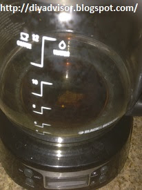This picture shows the damage through the coffee carafe