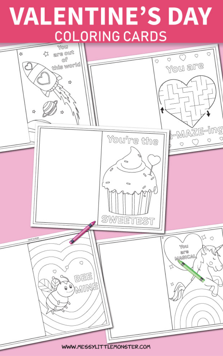 Printable coloring Valentines Day cards for kids to make.