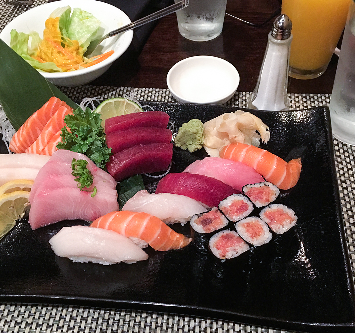 Jumbo and combo roll of assorted seafood in Japanese restaurant