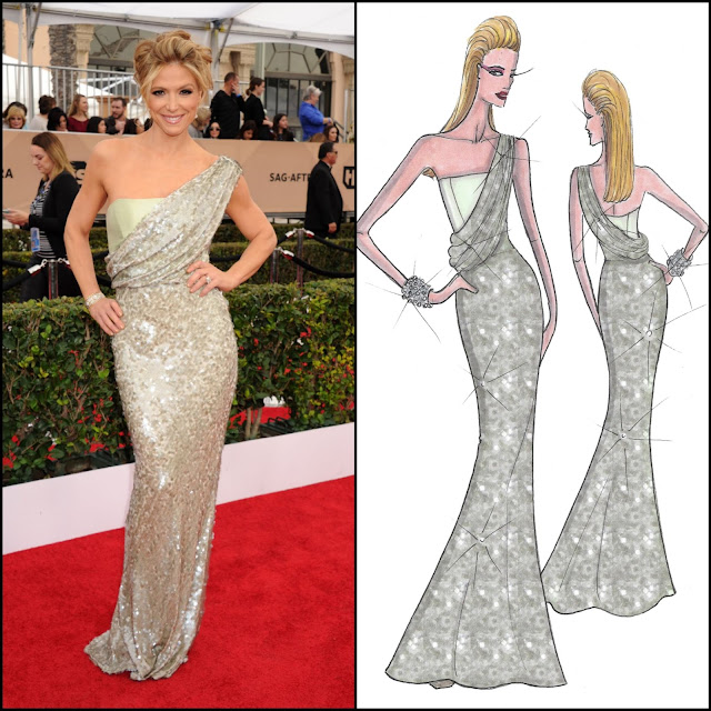 WHO WORE WHAT?.....2016 SAG Awards Red Carpet: Debbie Matenopoulos in NIKOLAKI Nick Verreos/David Paul Sequined Gown