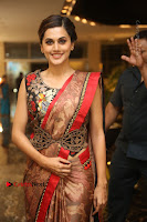 Tapsee Pannu Latest Stills in Red Silk Saree at Anando hma Pre Release Event .COM 0038.JPG