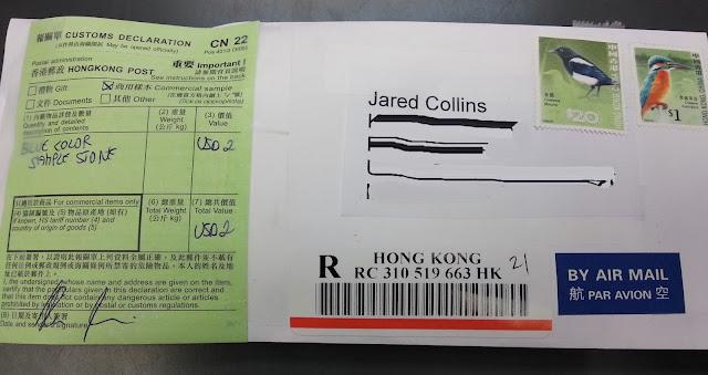 Envelope onde foi enviada a amostra da Sky Stone para Collins