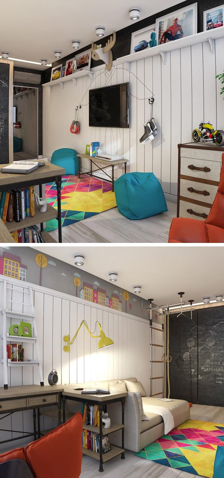 Decoração home office colorido