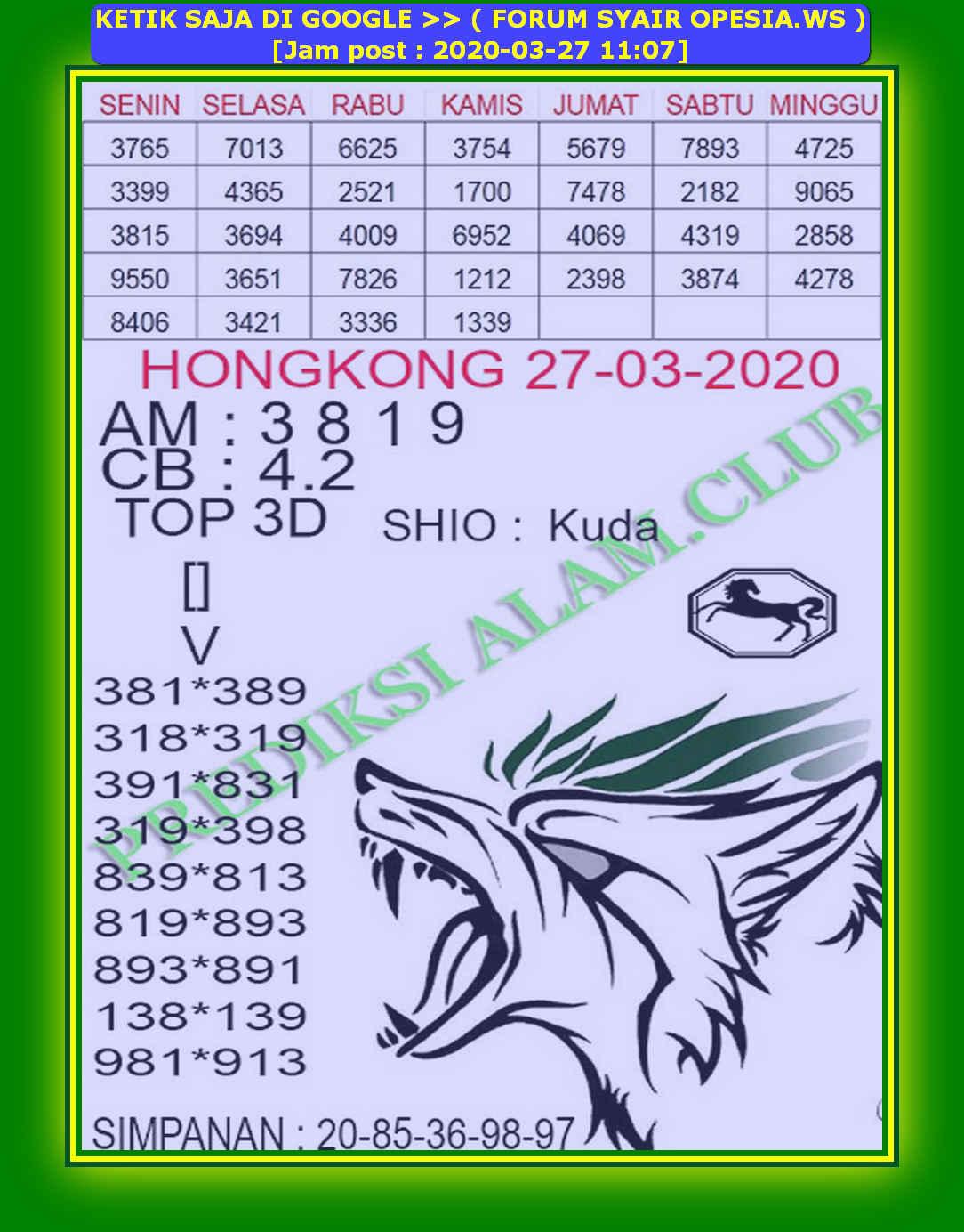 Kode syair Hongkong Jumat 27 Maret 2020 159