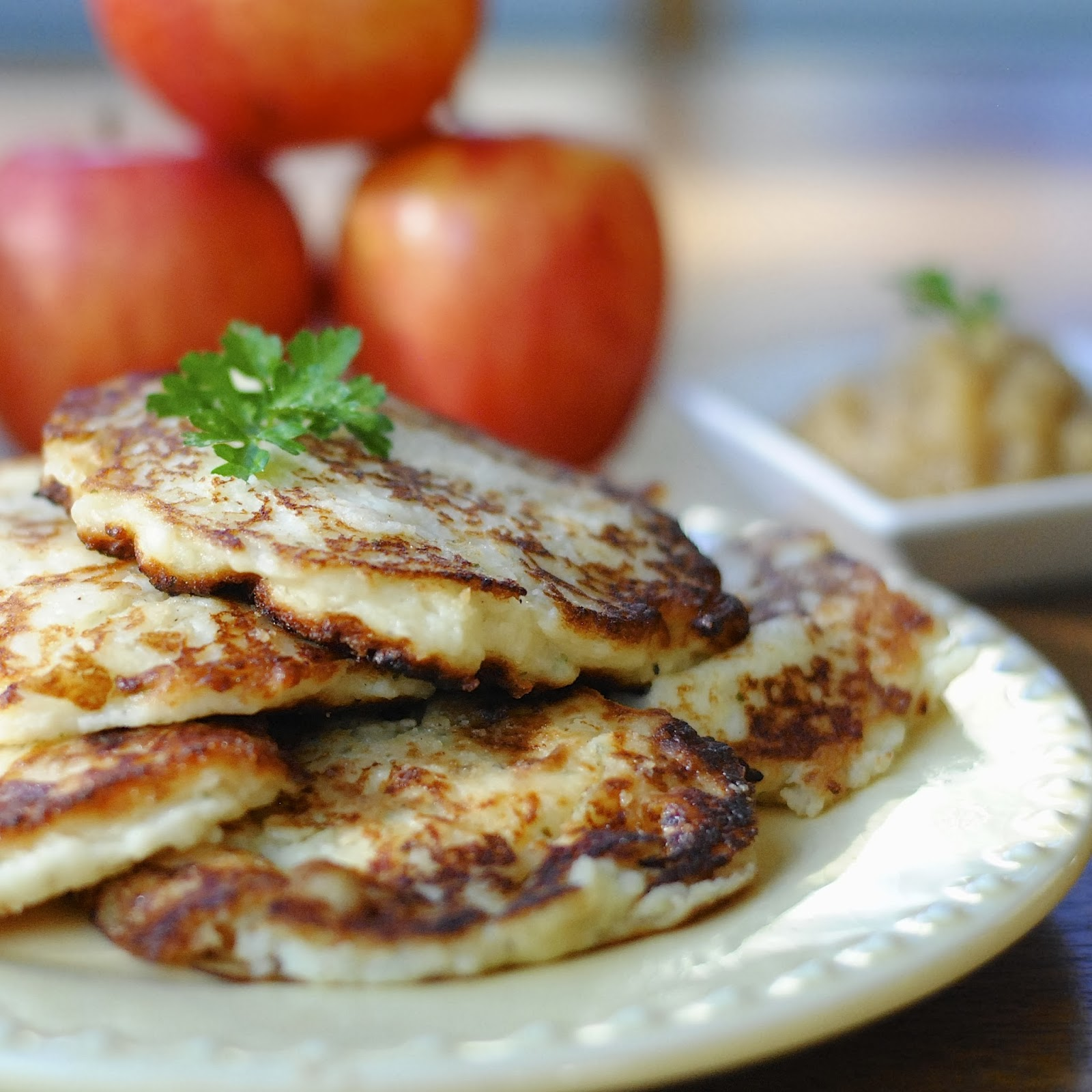 Mashed Potato Pancakes With Homemade Apple Sauce