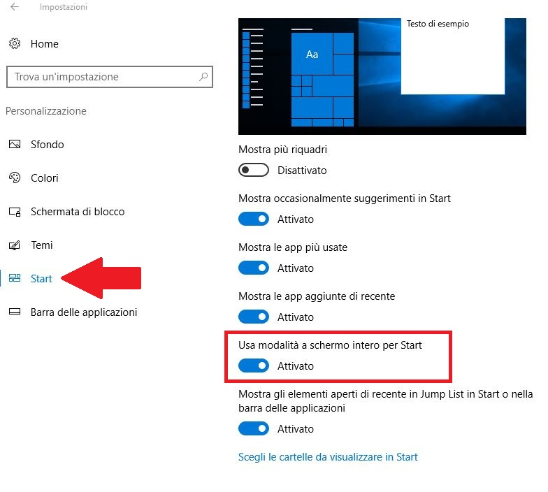 come visualizzare il Menu Start windows 10 a schermo