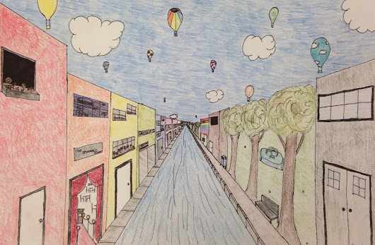 Middle School Art: One Point Perspective Cityscape
