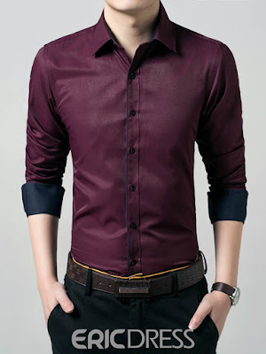 Ericdress Plain Long Sleeve Anti Wrinkle Slim Men's Shirt