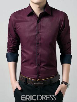 Ericdress Plain Long Sleeve Anti Wrinkle Slim Men's Shirt