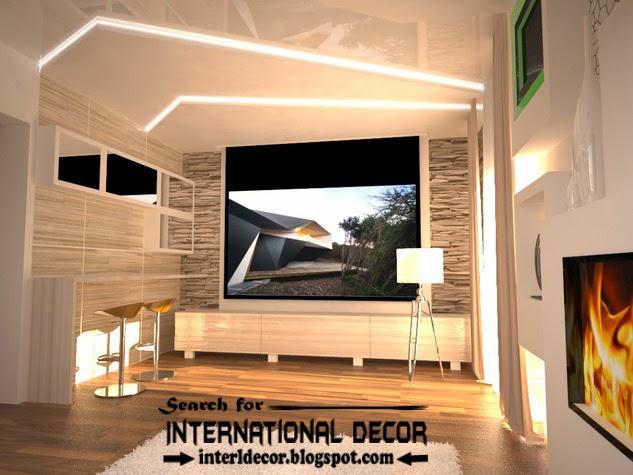modern pop false ceiling designs led lighting 2015 for living room interior
