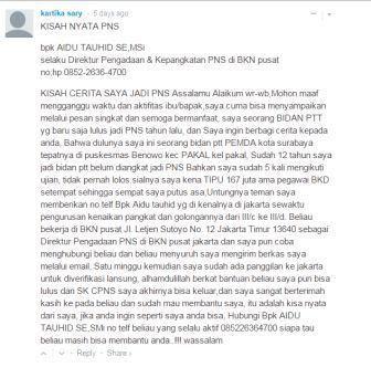 Komentar Calo CPNS yang mencurigakan