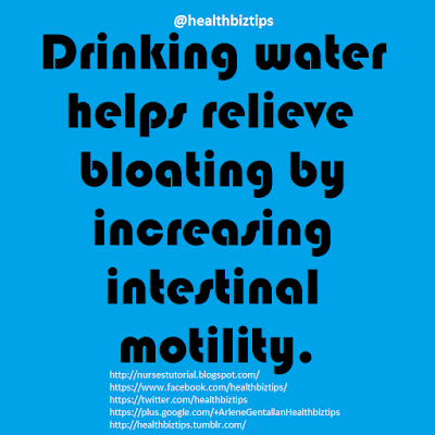 Drinking water helps relieve bloating by increasing intestinal motility.