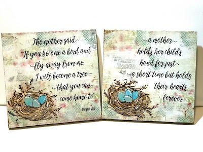 bird nest mixed media, painted bird eggs, nest sign, mother's hold the children's hands