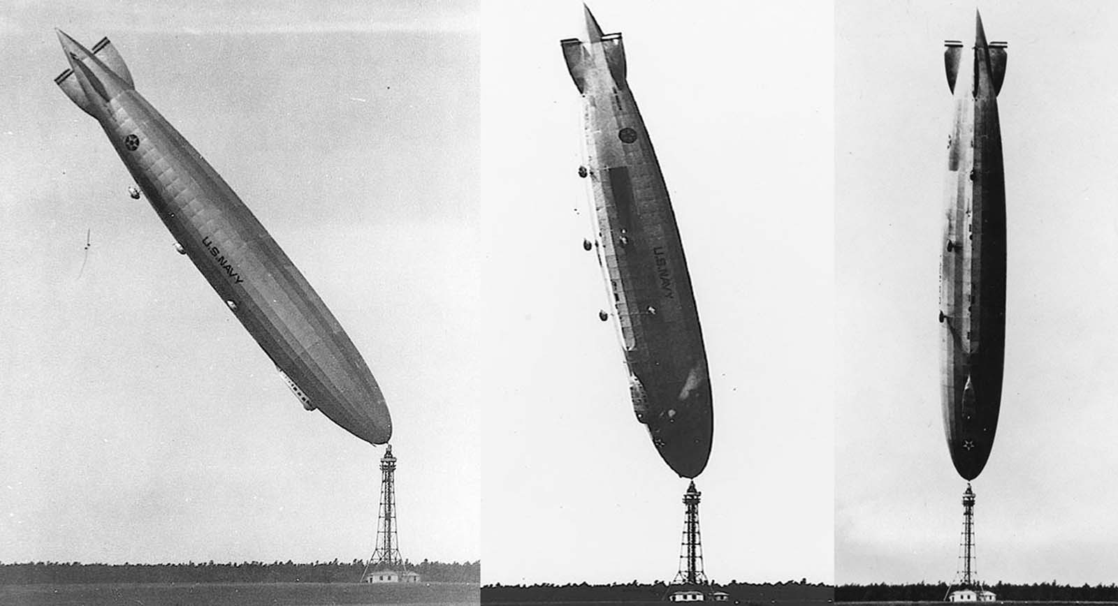 The U.S. Navy's dirigible Los Angeles, upended after a turbulent wind from the Atlantic flipped the 700-foot airship on its nose at Lakehurst, New Jersey, in 1926. The ship slowly righted itself and there were no serious injuries to the crew of 25.