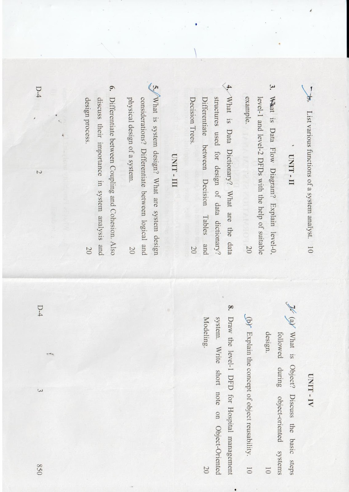 Information System Analysis And Design Question Paper Cse 208 B B Tech