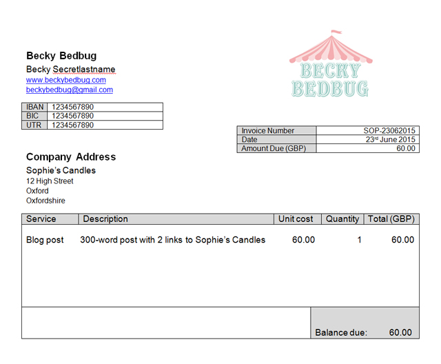 becky bedbug how to create an invoice for your blog