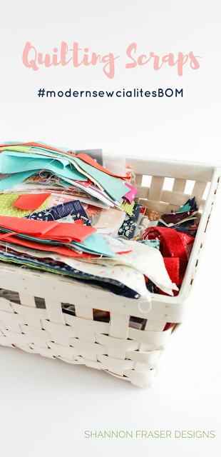 Basket full of fabric scraps | Shannon Fraser Designs #workingmystashoff #nowaste #fabricscraps