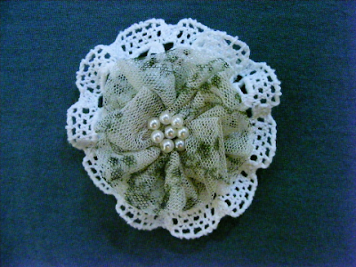 brosa 7 cm handmade croset perla verde
