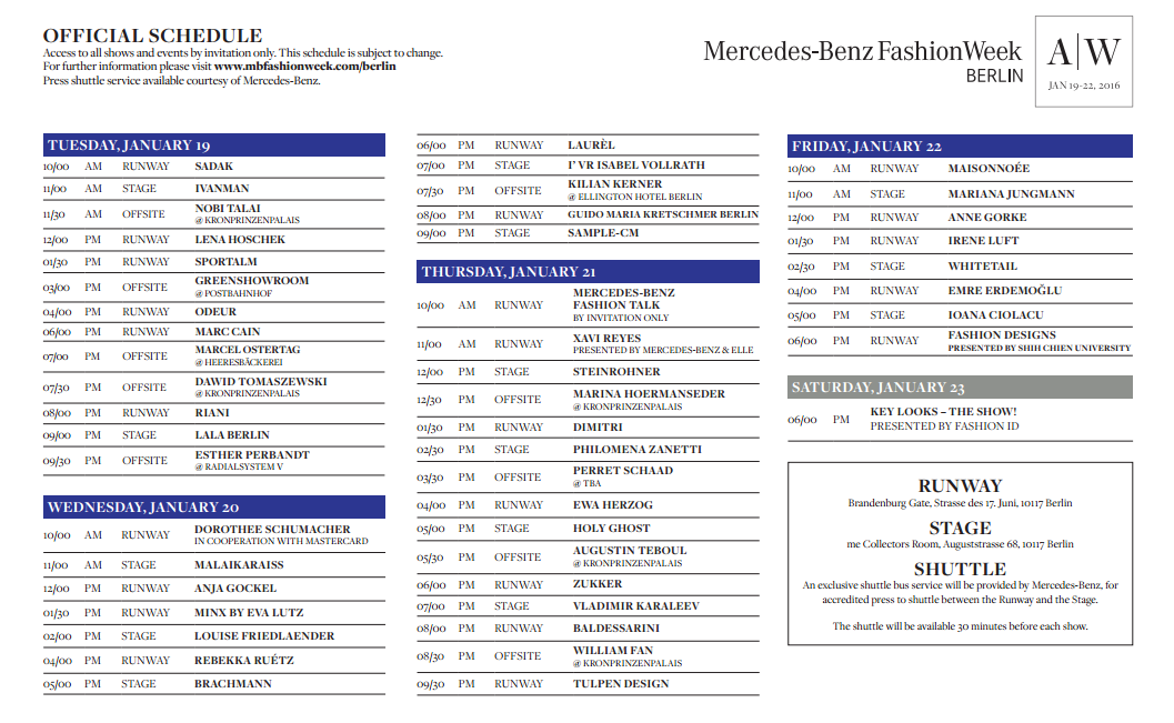 berlin fashion week aw 17 img schedule