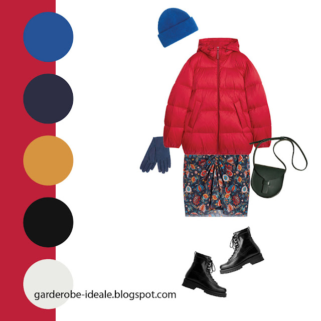 Сочетание красного пуховика и синей юбки с принтом