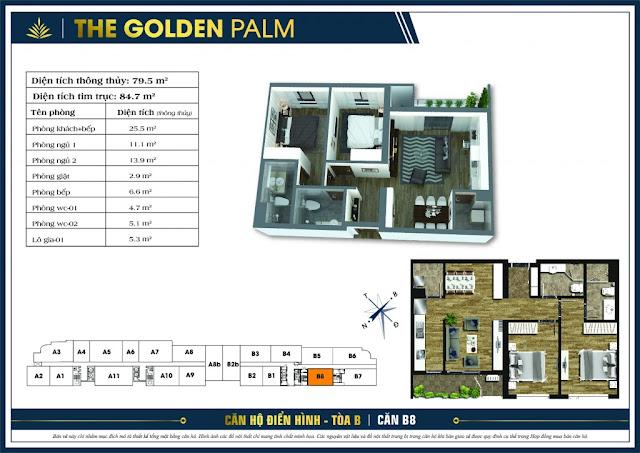 Thiết kế căn hộ B08 tòa B chung cư THE GOLDEN PALM