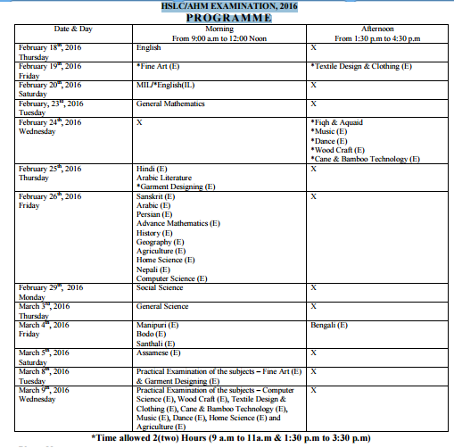 Assam SEBA / HSLC/ AHM / 10th Routine & Programme 2016
