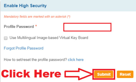 how to disable high security password in onlinesbi