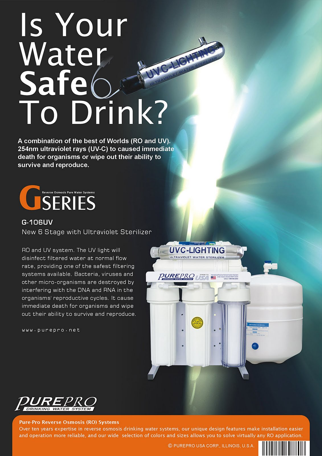 PurePro® G-106UV Reverse Osmosis Water Filtration System