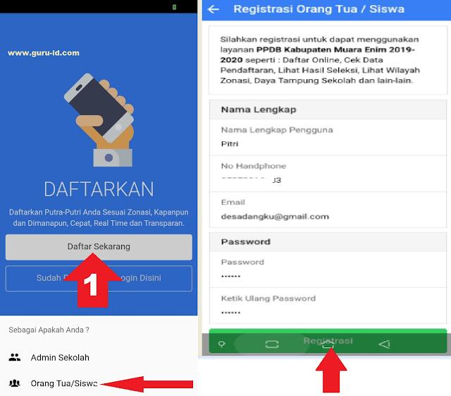 gambar cara buat akun di aplikasi android ppdb online muara enim