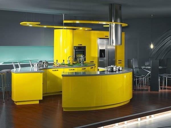 cocina color amarillo y gris