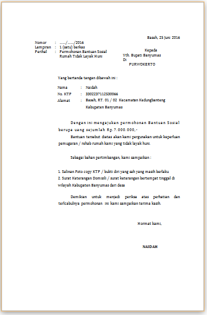 Contoh Proposal Permohonan Pemugaran Rumah Tidak Layak Huni Rtlh
