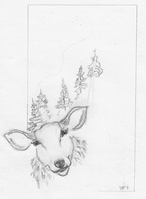Itching Illustrator: Sheep, Trees and Mountain Sketch:)