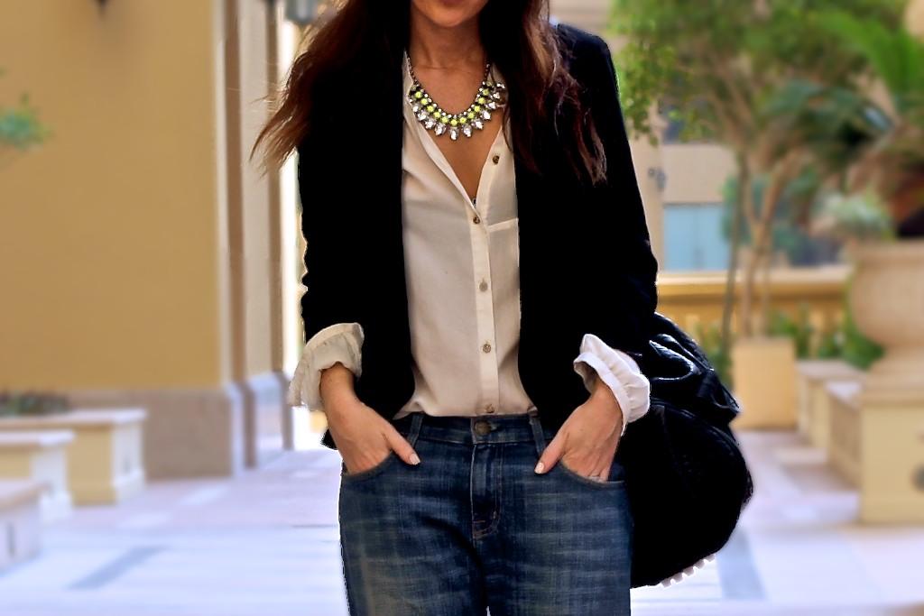 1d817480 Top: Zara (old) Jacket: Topshop blazer - Link! Bag: Alexander Wang - Link!  Shoes: Christian Louboutin Pigalle 100. Necklace: H&M Sunglasses: Prada
