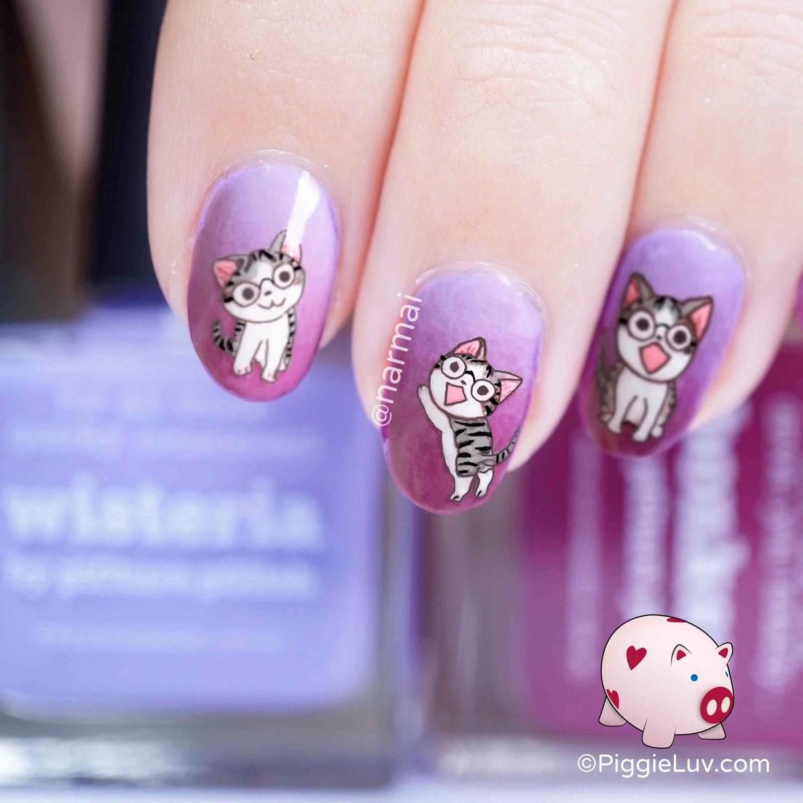 PiggieLuv: Nerdy cats nail art