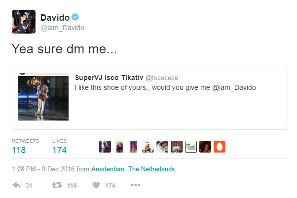 Davido gifts his pair of shoes to humble fan