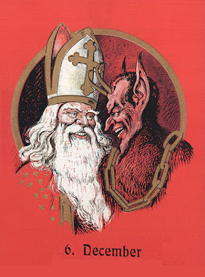 A vintage holiday card depicting the busts of St. Nicholas the bishop and Krampus grinning at each other.