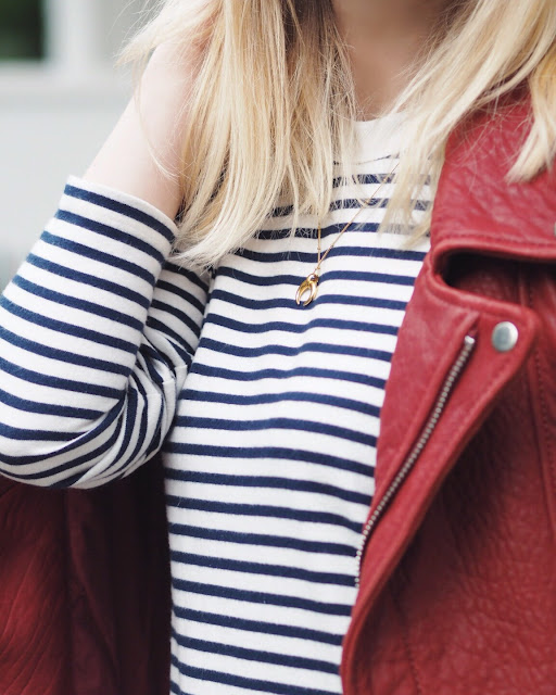 missoma necklace, breton stripe dress, striped dress, red leather jacket