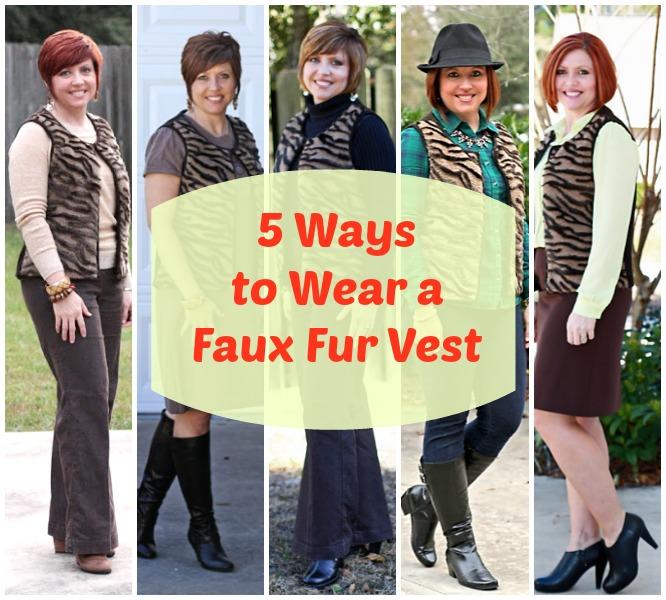 5 ways to wear a faux fur vest