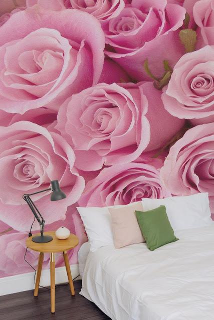 romantisk tapet sovrum rosor rosa fototapet