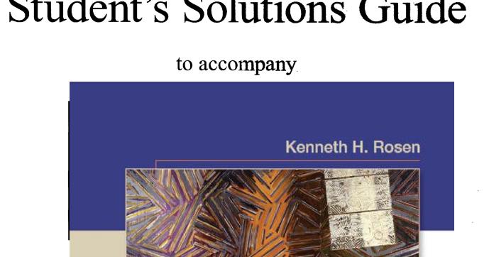 Solution Manual Rosen Discrete Mathematics And Its Applications