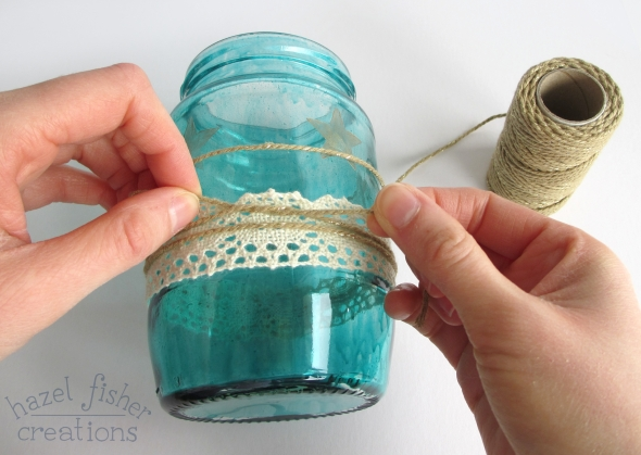 DIY Upcycled Jar Flower Vase lace and gold bakers twine hazelfishercreations