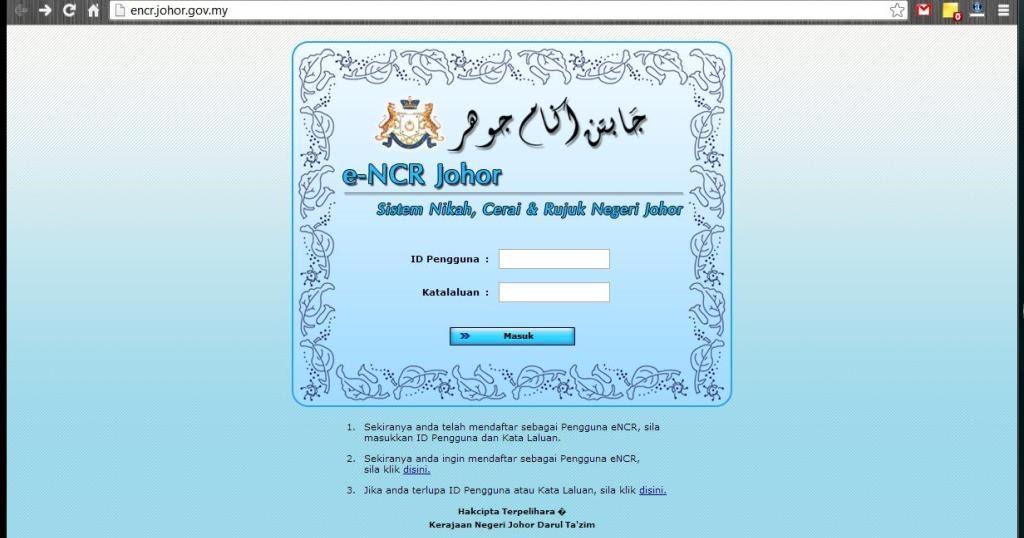 Cara Permohonan Nikah Negeri Johor Online Encr Screen Shot Nikah Johor